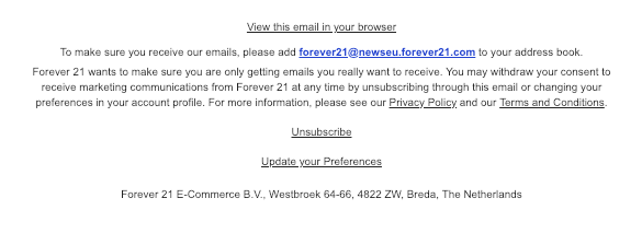 Unsubscribe link in the email footer