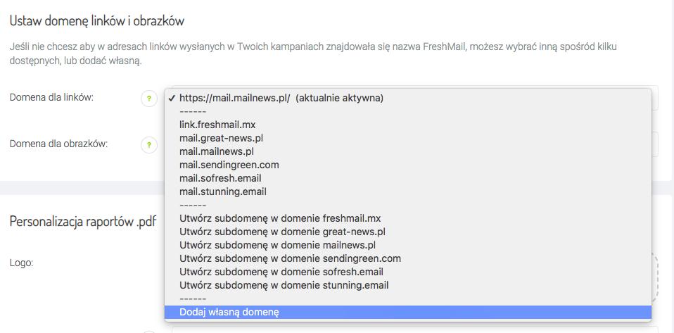 dodaj własną domenę