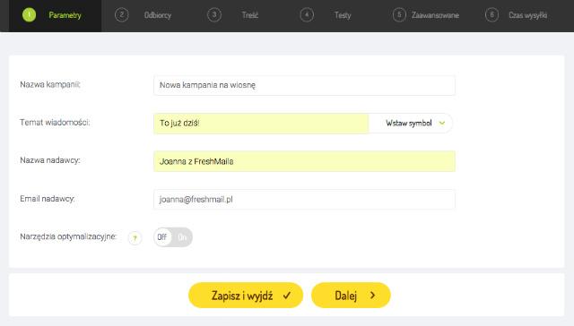 39d7b383bce918 Na nowym ekranie FreshMail poprosi Cię o podanie parametrów tworzonej  kampanii.