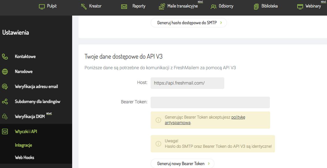 Klucz API V3
