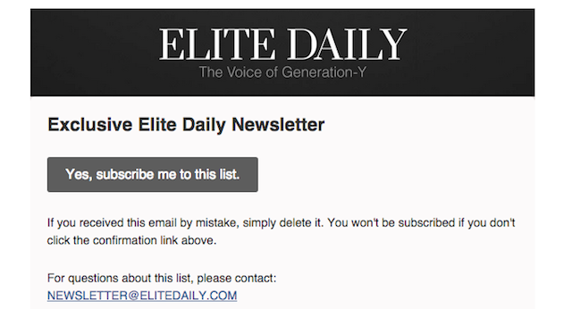Confirmation email: Elite Daily