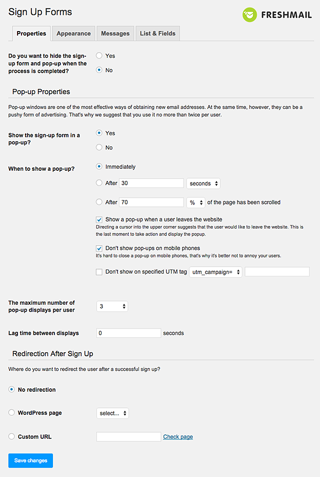 Sign Up Form For WordPress
