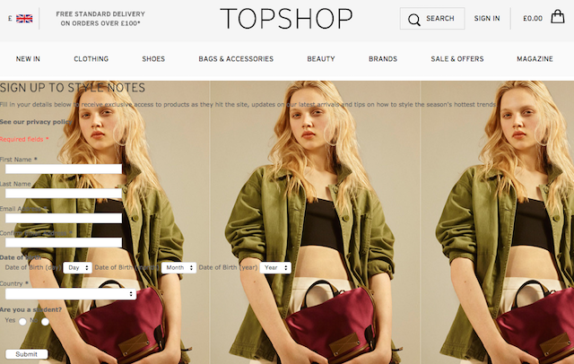 Top Shop sign-in