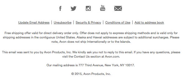 Newsletter footer: Avon