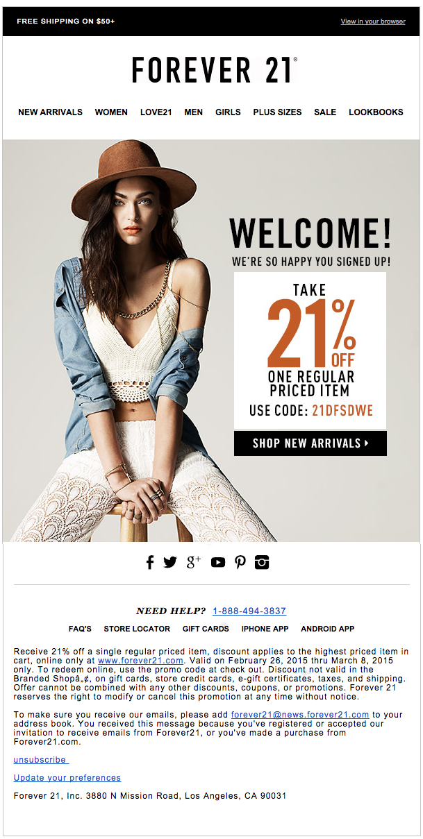Welcome message: Forever 21