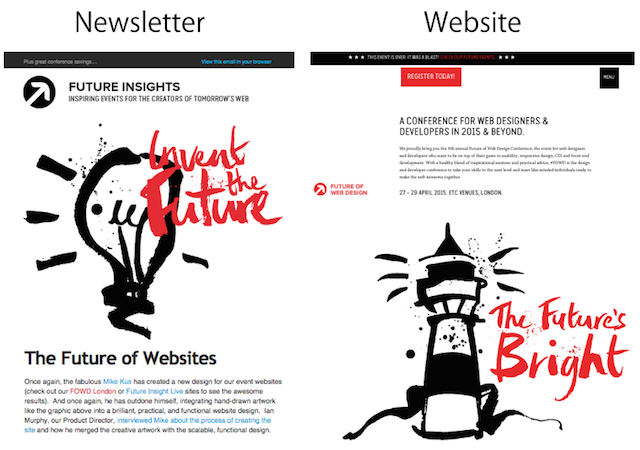 Newsletter and website example
