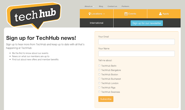 Sign-up form: www.techhub.com