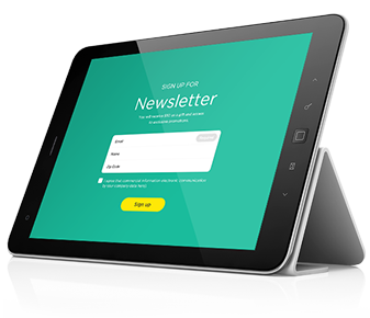 Create sign up form on iPad or Android tablet and collect emails on organization order, internet order, iphone app order, ios 8 app order,