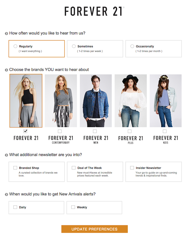 Email preference Centre: Forever 21