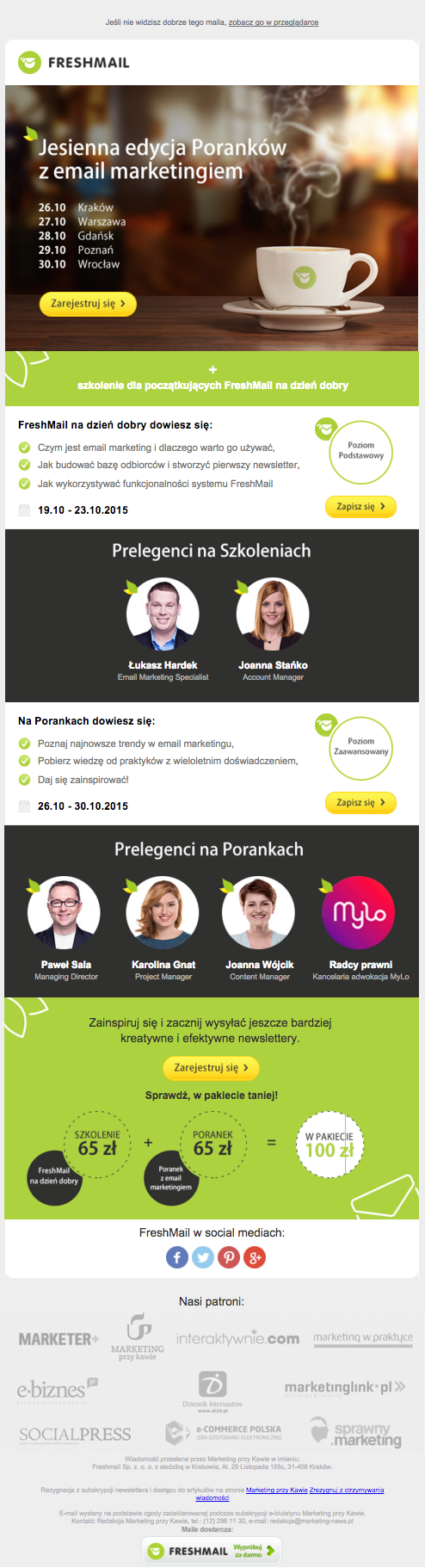 FreshMail, Marketing przy Kawie: mailing Poranki z Email Marketingiem 2015
