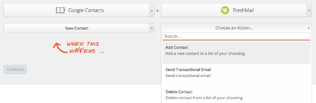 Google Contacts and FreshMail integration via Zapier