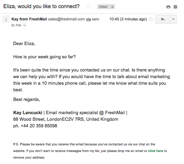 freshmail cold email