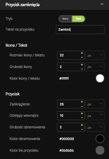 pop-up przycisk zamknięcia