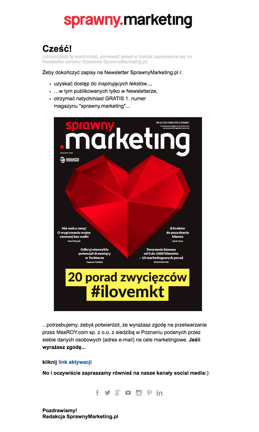 wiadomości potwierdzające - sprawny marketing