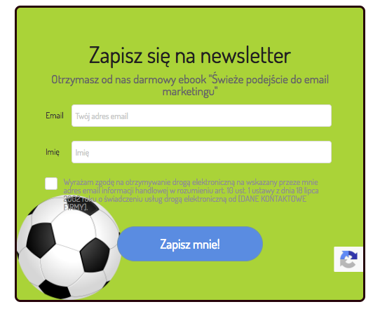 formularz zapisu do newslettera z grafiką w tle