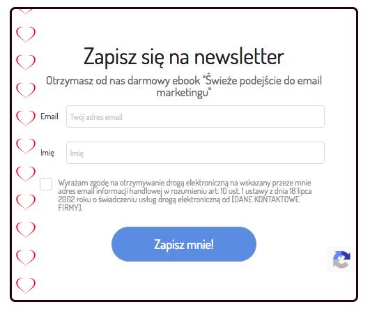 formularz zapisu do newslettera z ikoną