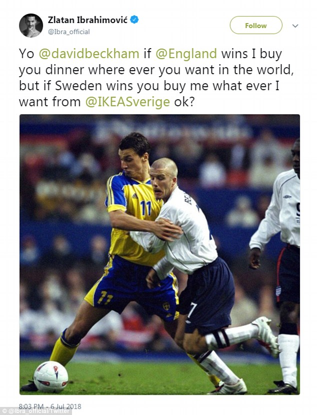 Beckham tweet do Ibra