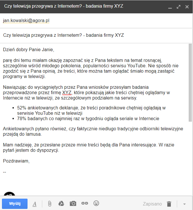 zasady pisania maili do dziennikarzy