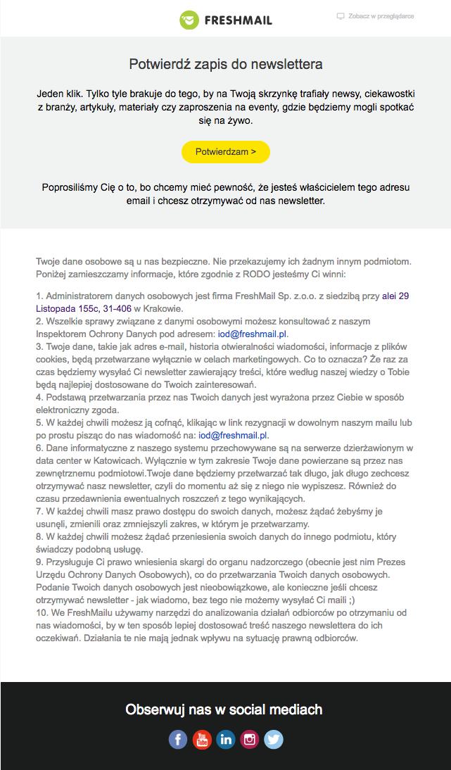 Przykładowy zapis do newslettera we FreshMailu i wiadomość z prośbą o potwierdzenie subskrypcji