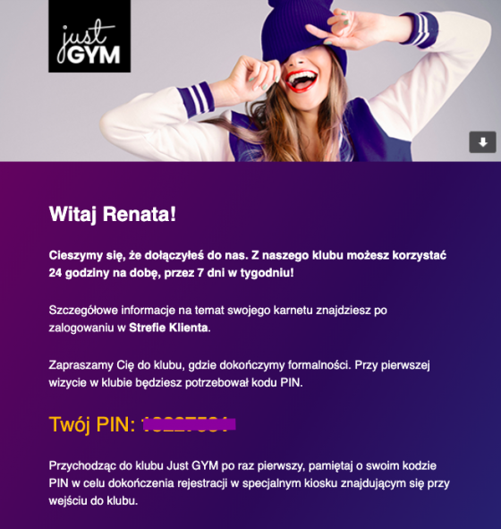 potwierdzenie-zalozenie-konta-just-gym-mail-transakcyjny