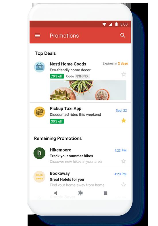 Wygląd Gmail Promotions Annotation w aplikacji mobilnej
