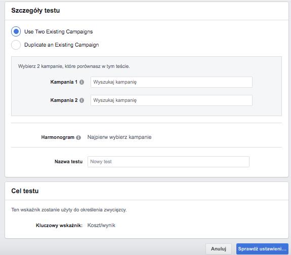 """Test A/B - Facebook - interfejs """"Testowanie i sprawdzanie"""""""