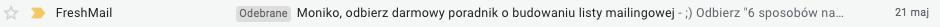 Test A/B - przyklad nagłowku e-maila