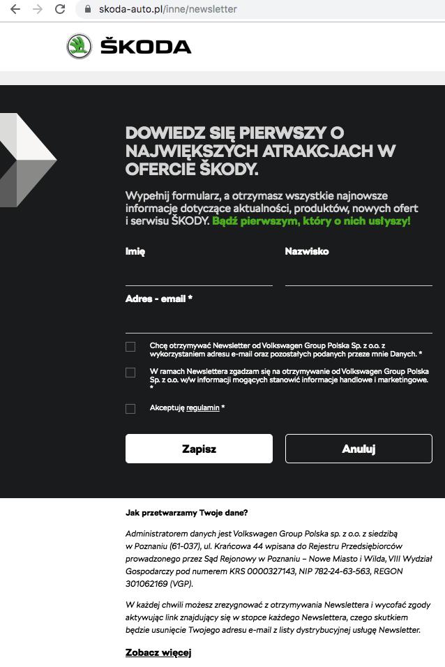przykład formularza zapisu na newsletter