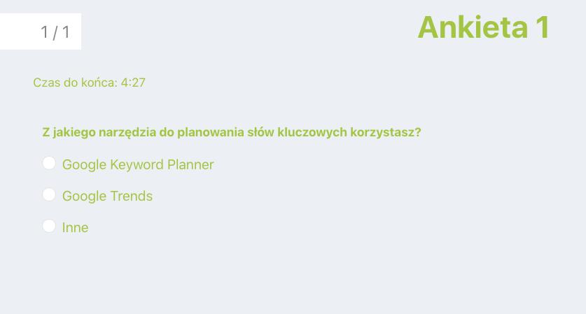 ankieta podczas webinaru