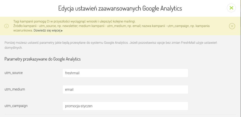 edycja ustawień zaawansowanych Google Analytics