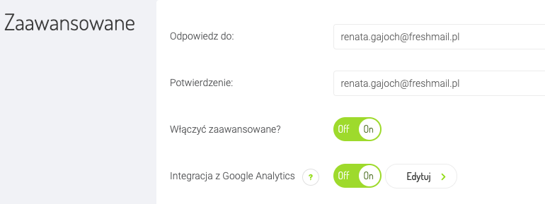 włączenie integracji z Google Analytics