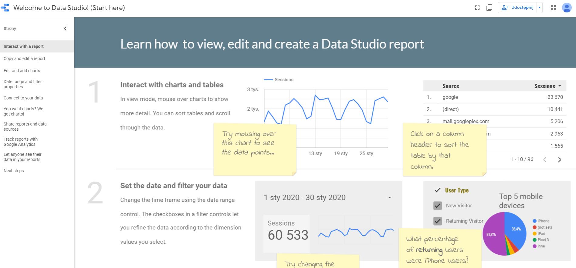 samouczek - jak stworzyć raport w Google Data Studio?