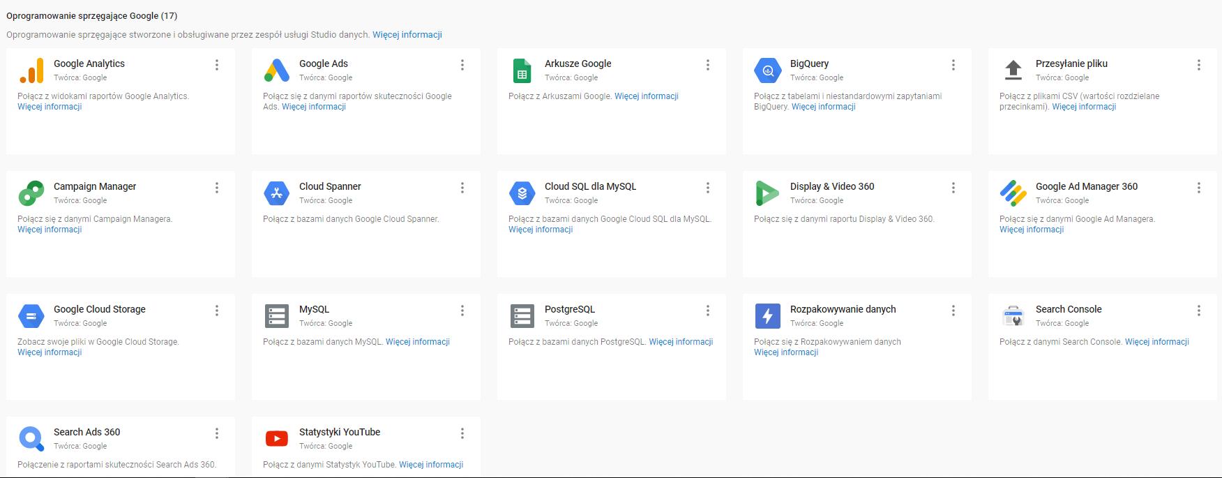 Import danych do Google Data Studio
