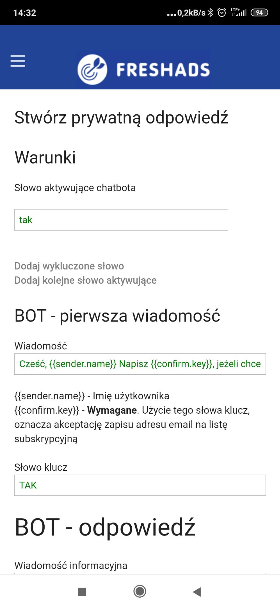 Freshads- chatbot