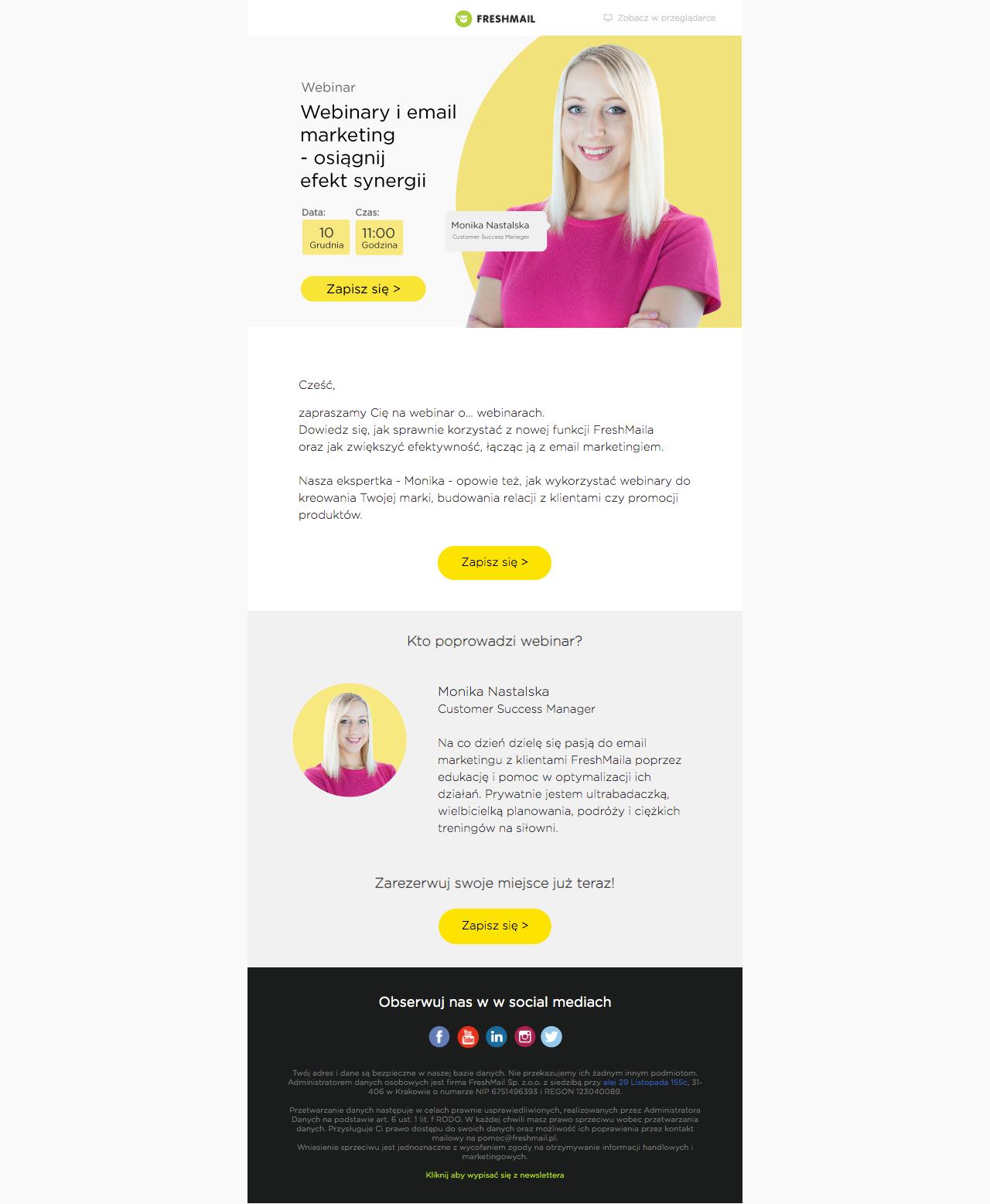 mailing z informacjami o webinarze