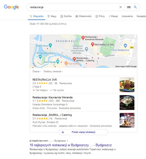 wyszukiwanie lokalne restauracji