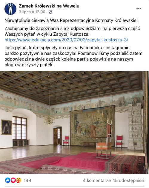 Screen z fanpage'a Zamku Królewskiego na Wawelu