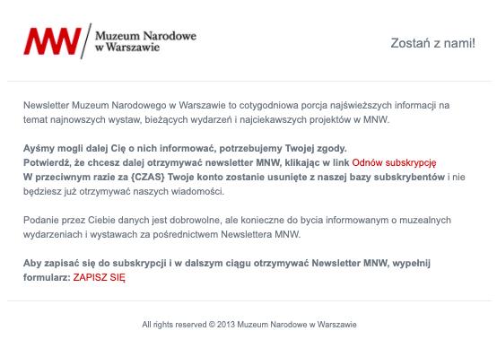 Newsletter wysłany przez Muzeum Narodowe w Warszawie