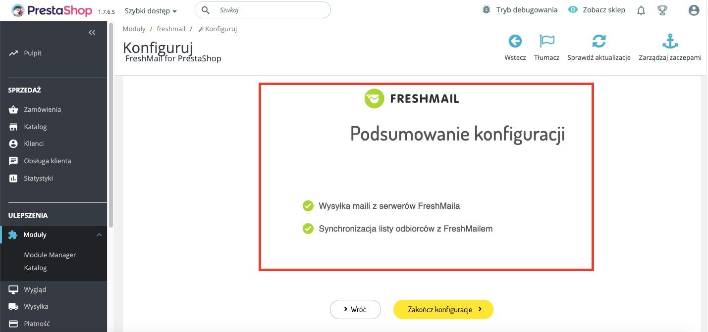 Instrukcja integracji Prestashop z FreshMailem