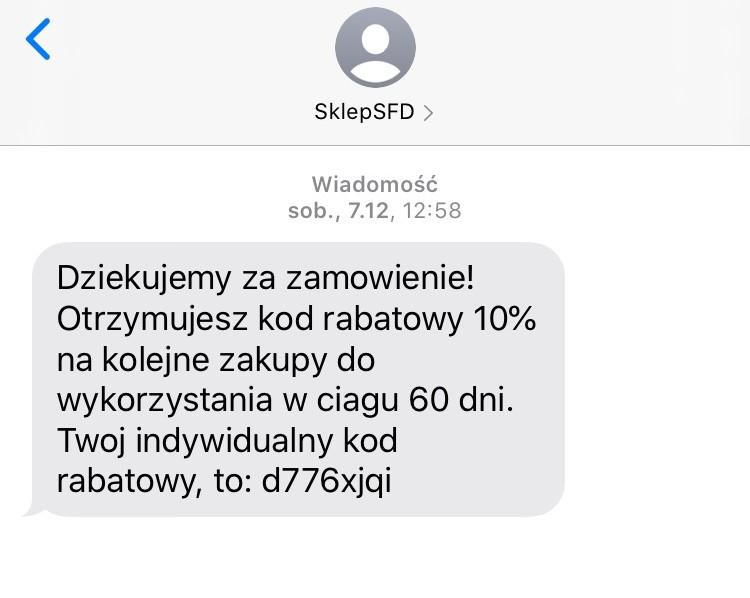 SMS z kodem rabatowym