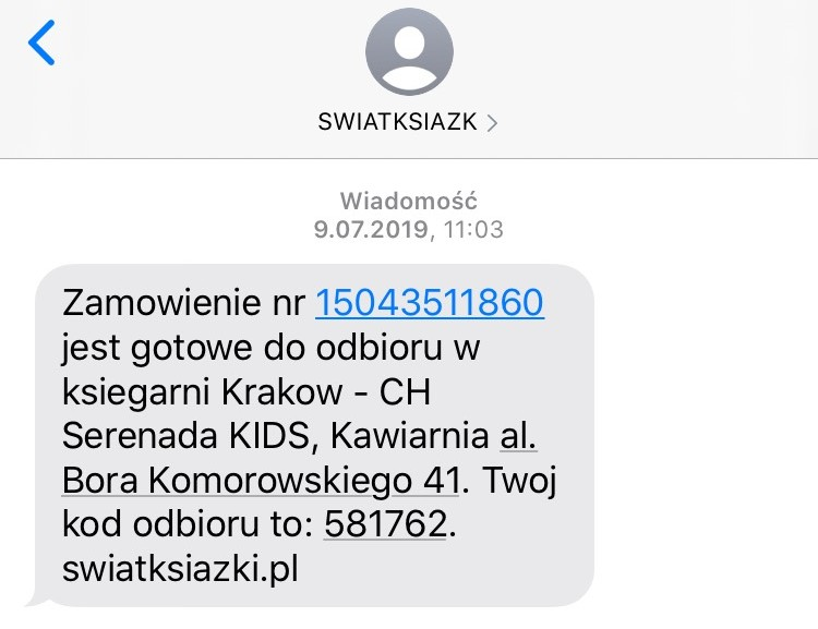 przykład SMSa transakcyjnego