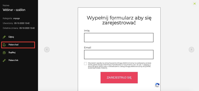 Pobierz kod Formularza FreshMail