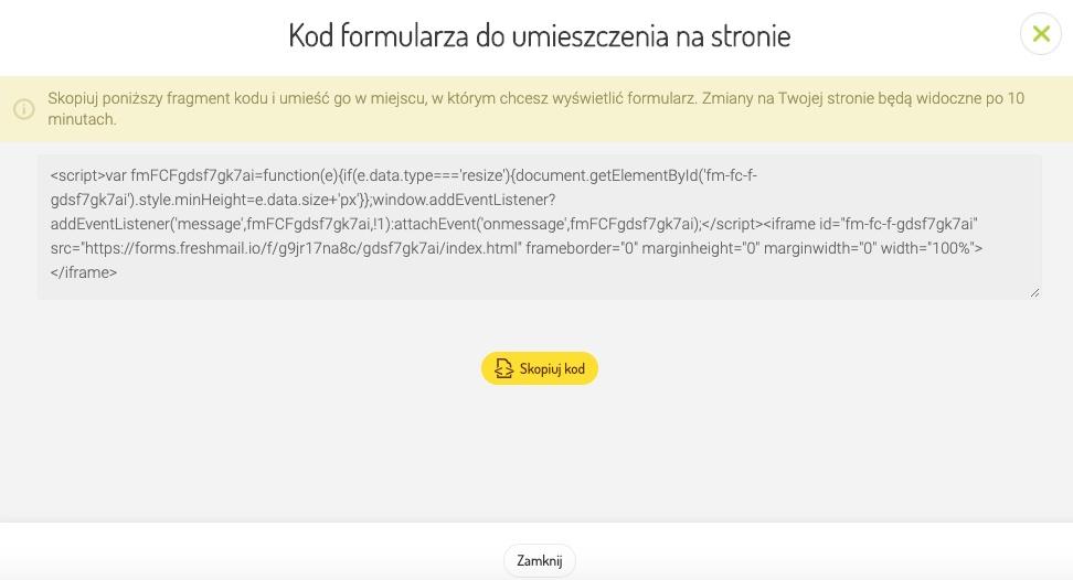 Kod formularza do umieszczenia na stronie- FreshMail