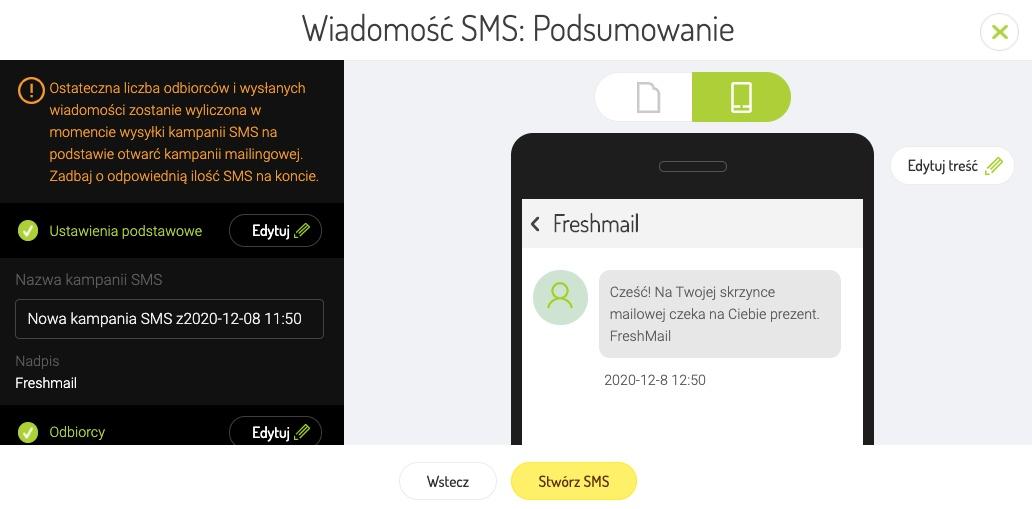 Podsumowanie kampanii SMS