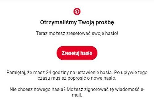 Przykład maila transakcyjnego służącego do zresetowania hasła